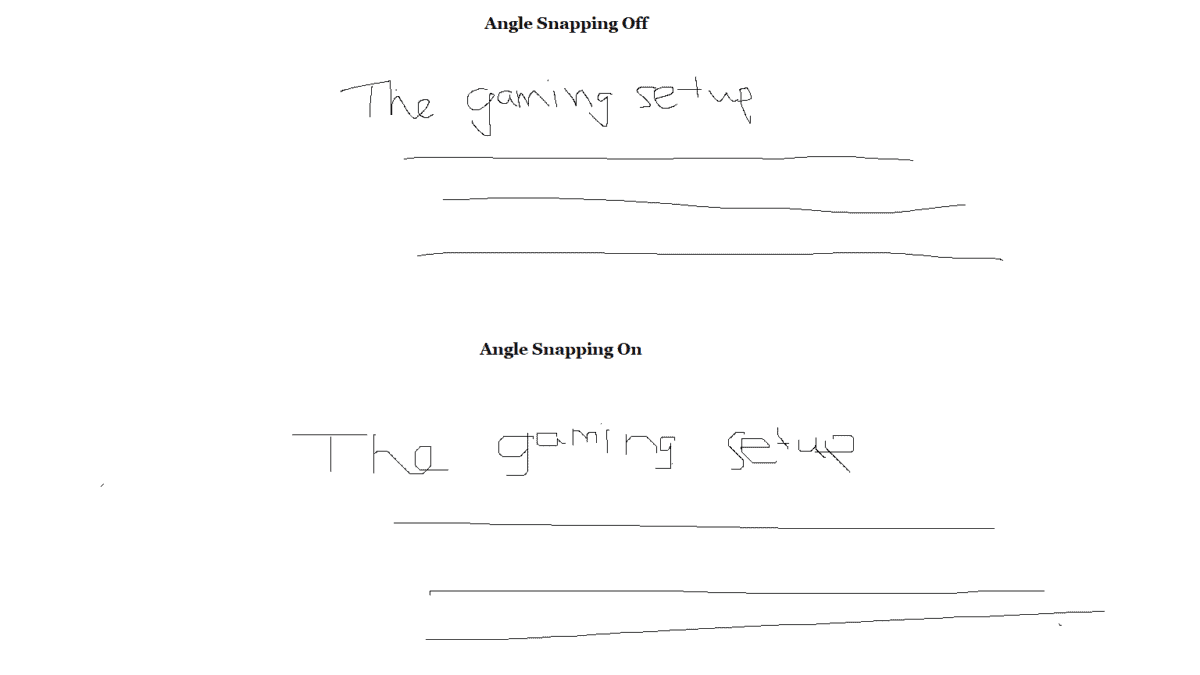 Example of angle snapping