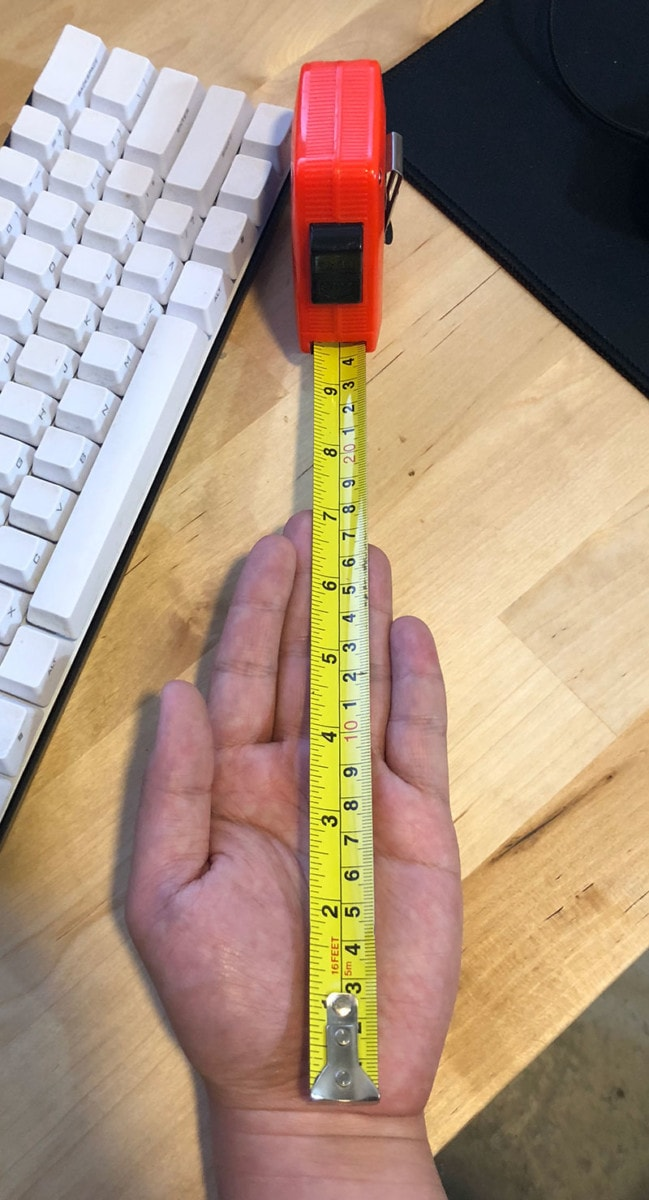Measuring hand length