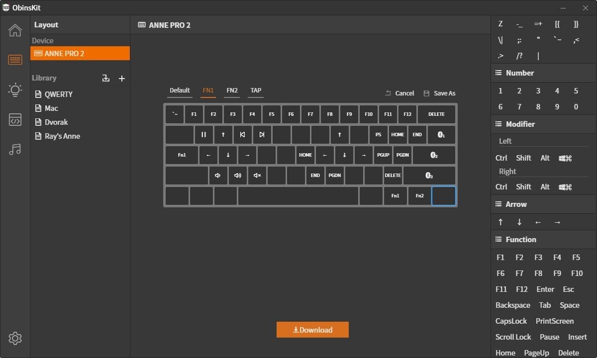 Anne Pro 2 - Software Keymap