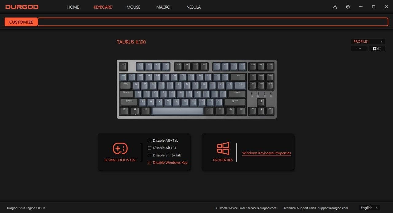 Durgod Taurus - Software Keyboard Profile
