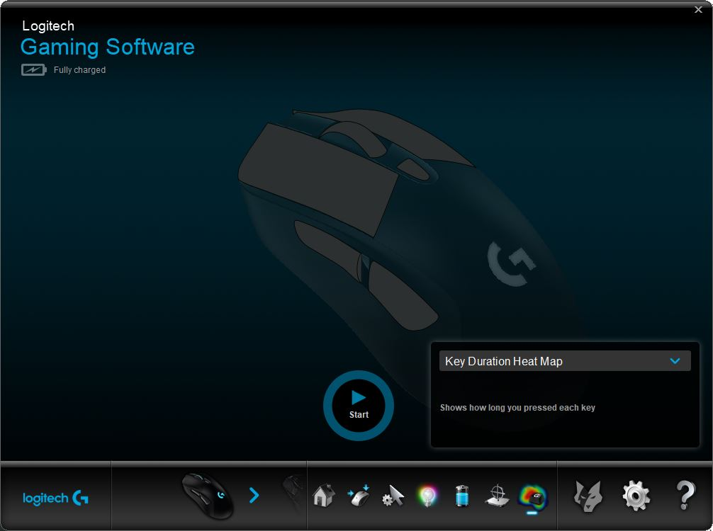 Logitech Gaming Software input analysis screen