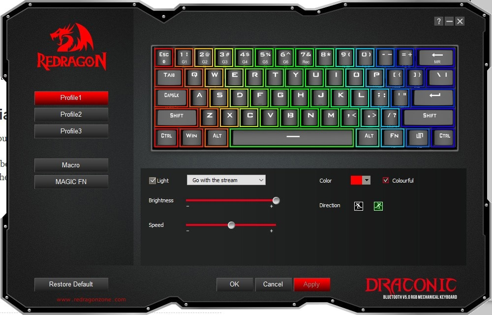 Redragon K530 - Lighting