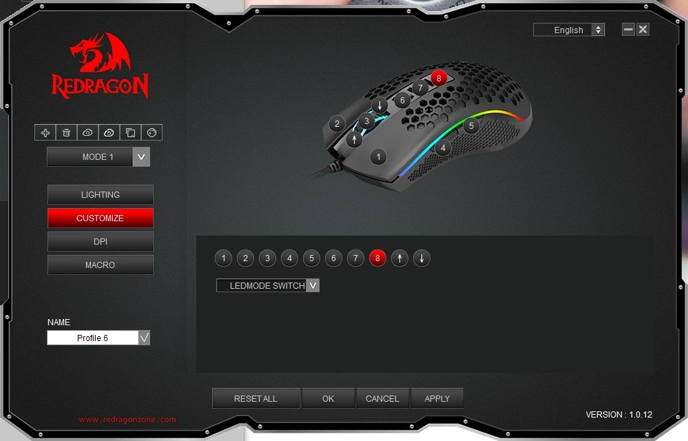 Redragon M808 - Button Map