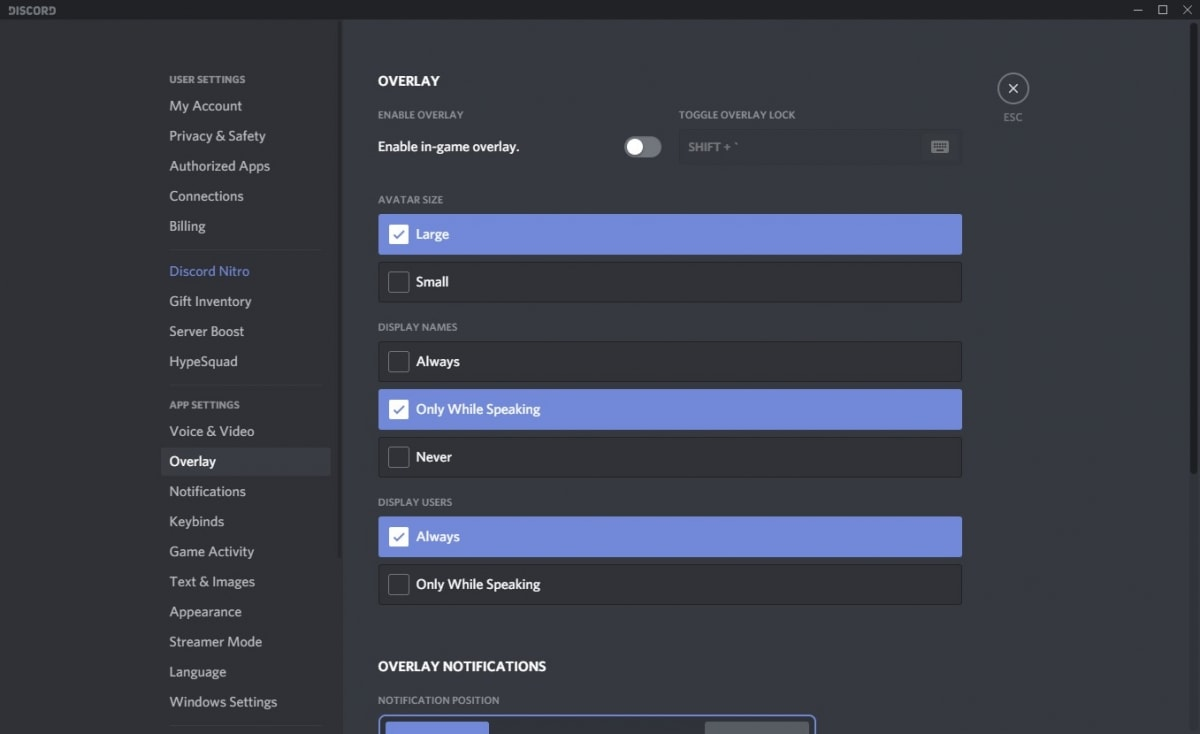 Discord overlay settings