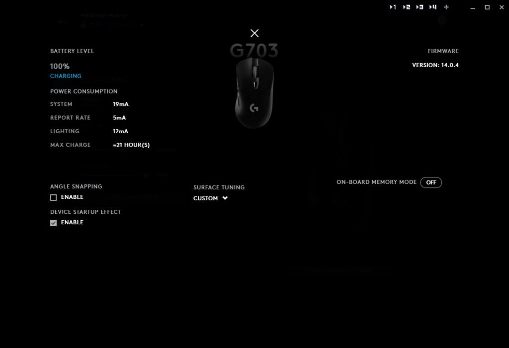 Logitech G Hub settings screen