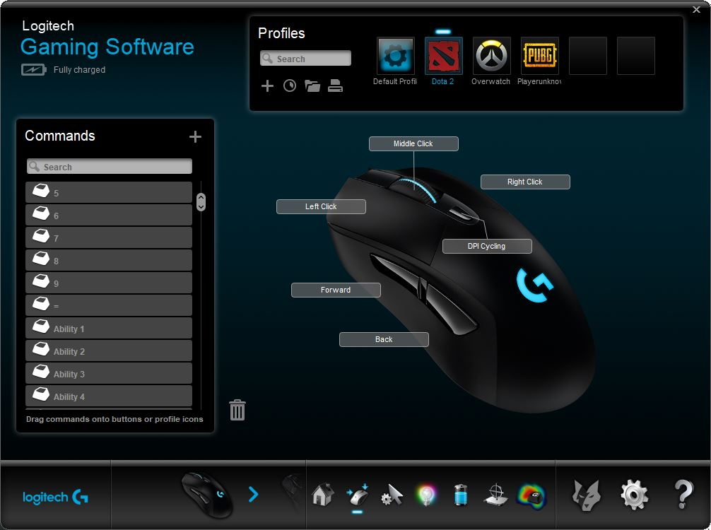 Logitech Gaming Software auto profile screen
