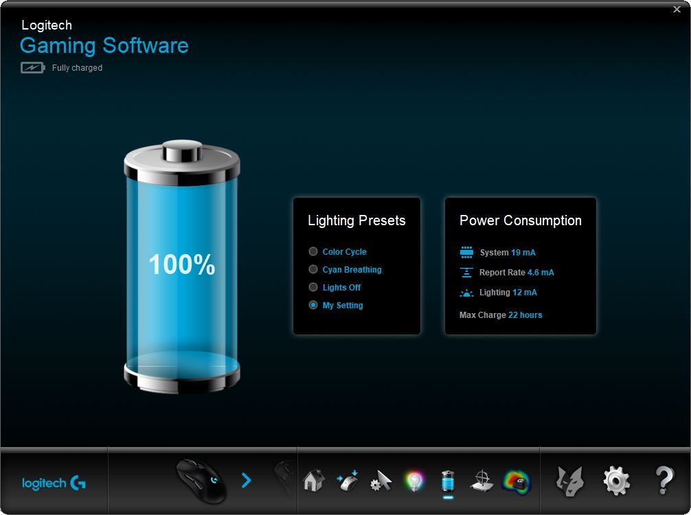 Logitech Gaming Software battery screen
