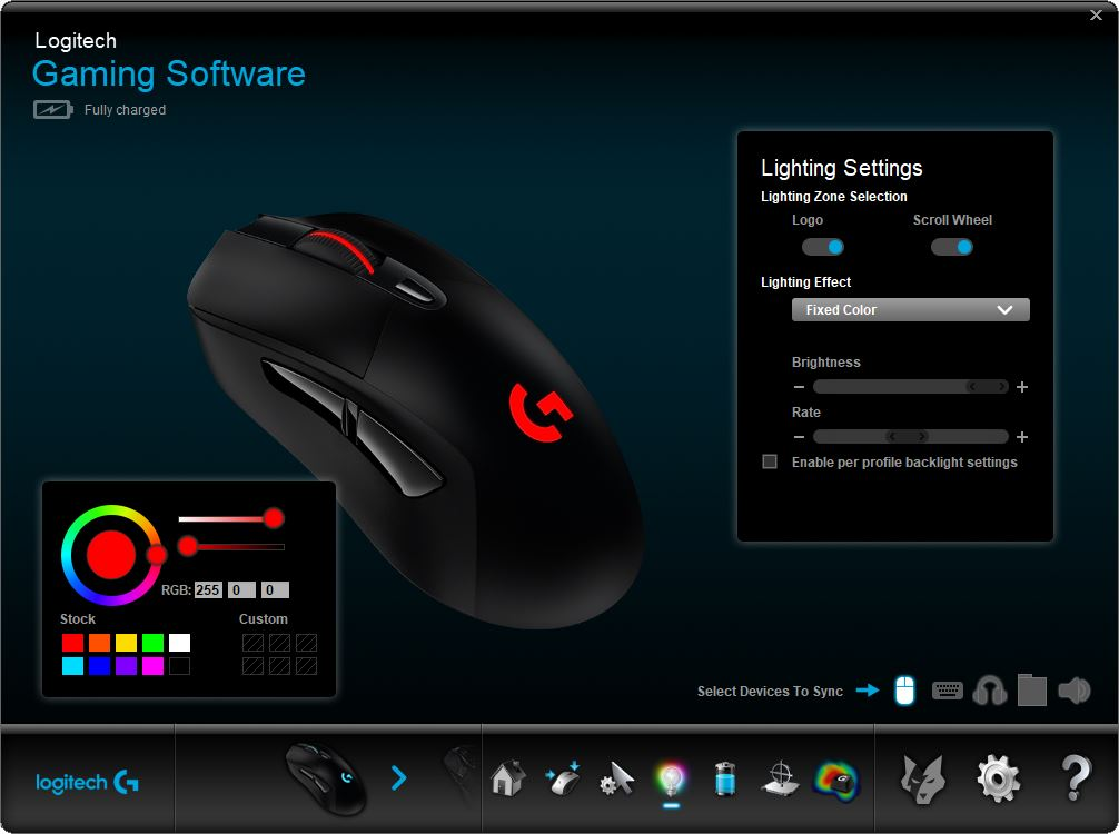 Logitech Gaming Software lighting screen
