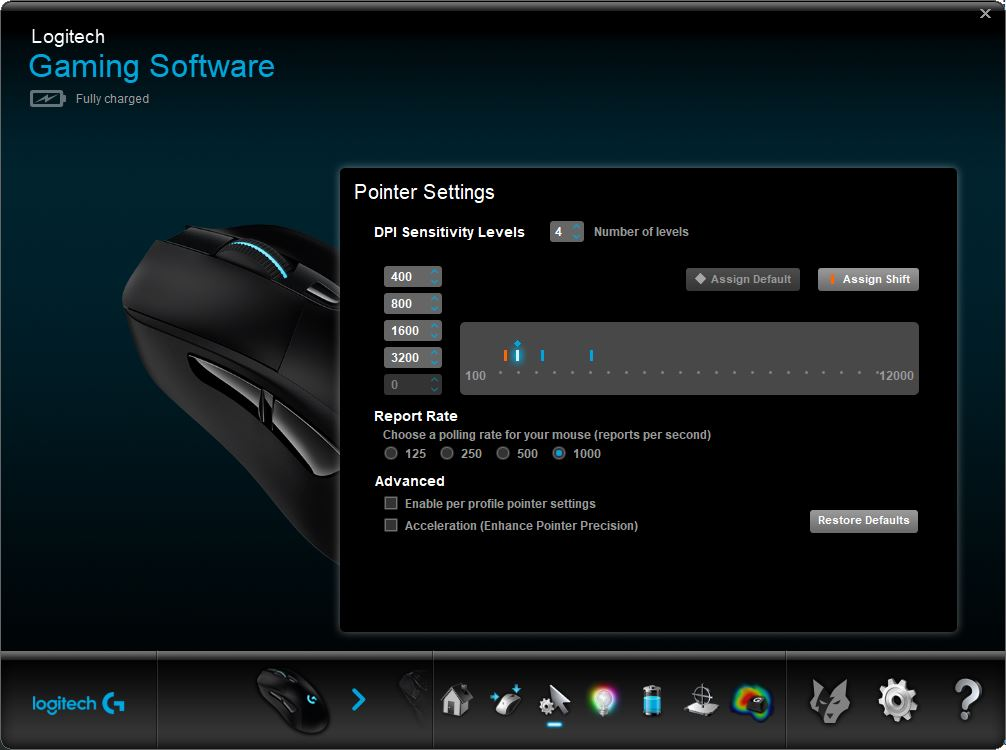 Logitech Gaming Software sensitivity profiles screen