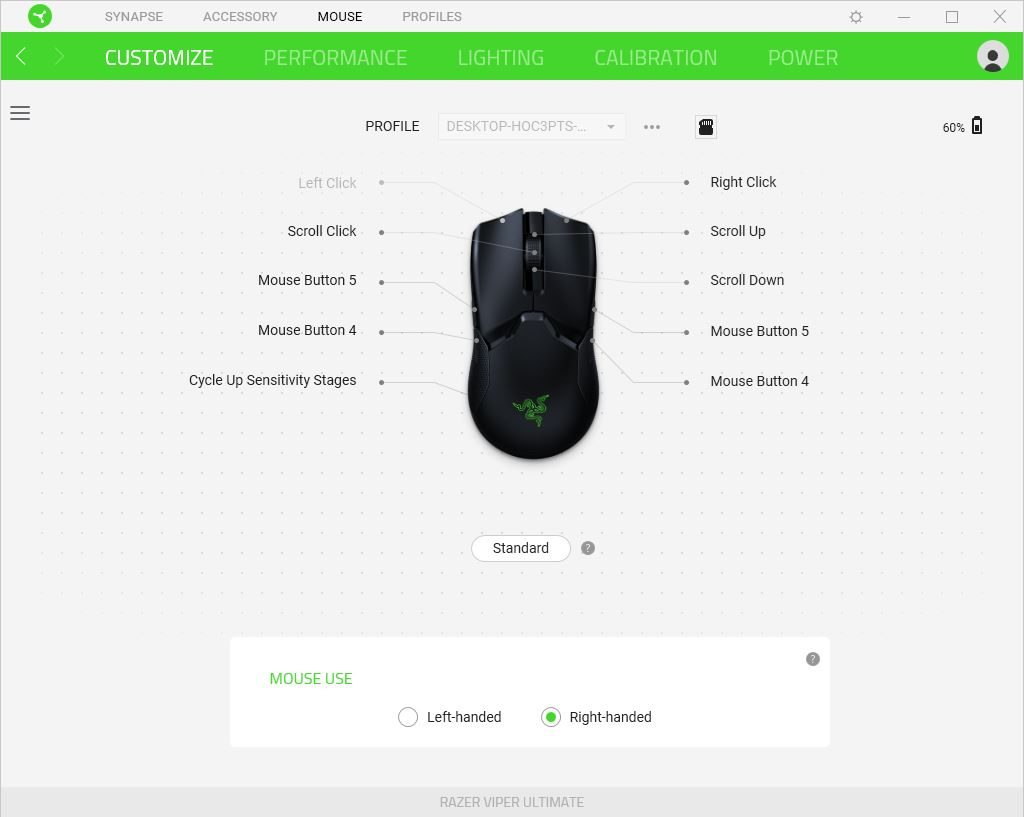 Razer Viper Ultimate - Customize screen