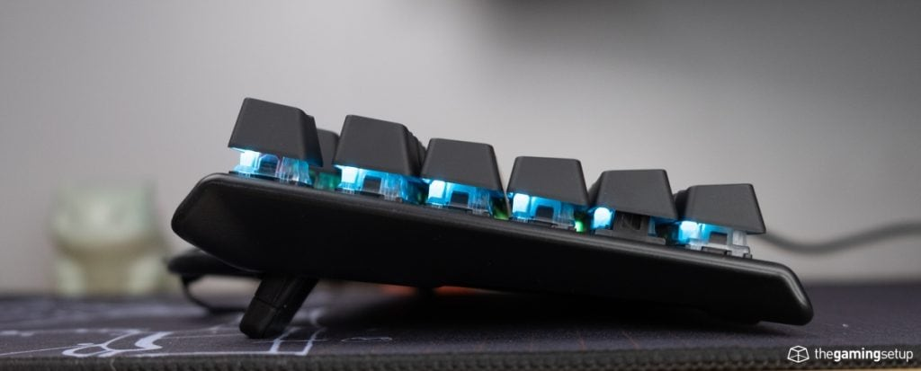 Steelseries Apex Pro Keyboard - Side view, feet up
